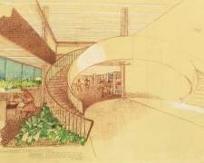 Architectural Sketch - Richard J. Neutra, the architect of Swirbul Library