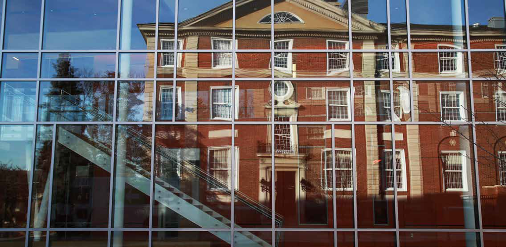 Levermore Hall Reflection on Nexus Building
